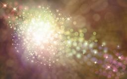 Elegant golden shimmering sparkles background. A white ball of sparkles with a stream of sparkles flowing top left to bottom right on a warm golden brown bokeh vector illustration