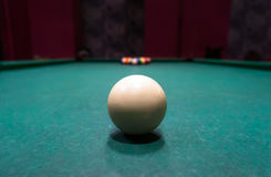 White ball start pool game Royalty Free Stock Images