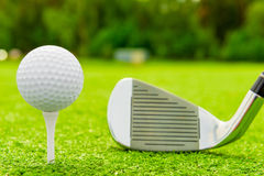 White ball on tee and golf club. On the field Royalty Free Stock Photography