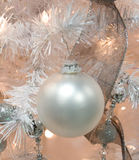 White Ball on White Christmas Ornament Royalty Free Stock Images