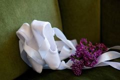 White ballet Slippers for dancing stock photography