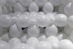 The white balloon shape. A number of white balloon groups are patterned neatly Stock Photography