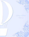 White balloon silhouette with corners. Vector white balloon silhouette on blue background Royalty Free Stock Images