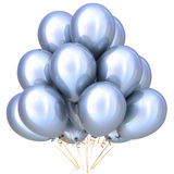 White balloons birthday party carnival decoration silver glossy. White balloons birthday party carnival decoration bright silver glossy. Happy holiday Royalty Free Stock Images