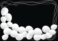 White Balloons Border Frame. Black and white frame with white memorial balloons Royalty Free Stock Photo