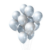 White balloons isolated. 3D white air balloons isolated on white background Stock Images