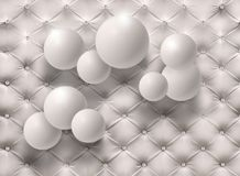 White balloons on the white background of the skin. Photo Wallpaper for interior. 3D rendering. White balloons on the white background of the skin. Photo Royalty Free Stock Image