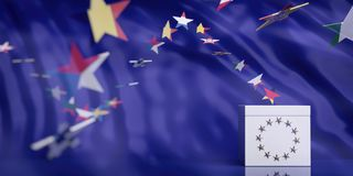 White ballot box on European Union flag abstract background. 3d illustration. EU elections concept. White ballot box on European Union flag abstract background stock images