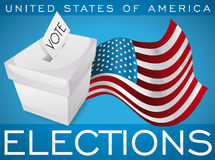 White Ballot Box and Waving American Flag Promoting U.S.A. Elections, Vector Illustration. Poster with white ballot box and waving American flag to promote the vector illustration