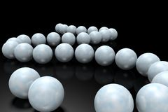 White balls on the black mirror background. Abstract background to create banners, covers, posters, cards, etc Stock Photos