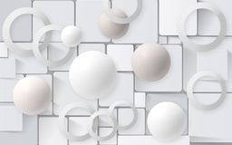 White balls with circles on the background of the tiles. 3D Wallpapers for interior 3D rendering. White balls with circles on the background of the tiles. 3D Royalty Free Stock Image