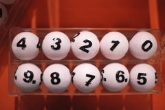 White balls for the game of lottery. White balls with numbers for the game of lottery stock photography