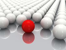 White balls and red sphere Stock Photo