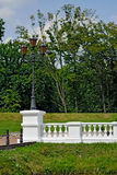 White balustrade in the old Park Stock Images