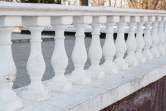 White Balustrade Pillars in park Royalty Free Stock Photo