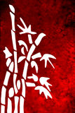 White Bamboo. On red textured or furry background Vector Illustration