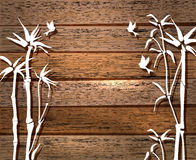 White Bamboo and birds over wood background Royalty Free Stock Images