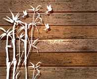 White Bamboo and birds over wood background Royalty Free Stock Photography