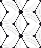 White banana shapes and black hexagon net seamless pattern Stock Images