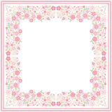 White bandana print with beautiful floral border with light red flowers and green leaves in vector. Square card. With space for text vector illustration