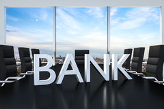 White bank logo standing on office conference desk skyline Royalty Free Stock Photo