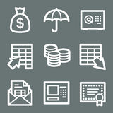 White banking web icons. Vector web icons, white contour series Stock Photo