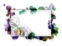 White banner with abstract circles on a watercolor background.. Royalty Free Stock Photography
