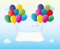White banner attached to balloons in the sky. Illustration Stock Photos