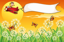 A white banner carried by the monkey riding in a plane. Illustration of a white banner carried by the monkey riding in a plane Stock Images
