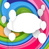 White banner in the cloud form with balloons on a bright abstract background Creative poster template birthday greeting card royalty free illustration