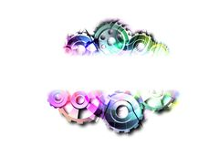 White banner with colored gears. Abstract background to create banners, covers, posters, cards, etc stock illustration
