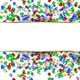 White banner with colorful confetti and colorful serpentine. New Year background. Vector illustration. White banner with colorful confetti and colorful Stock Photography
