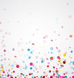 White banner with colorful confetti. Festive white banner with colorful glossy confetti. Vector illustration Royalty Free Stock Photo