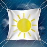 White banner with drawn sun Stock Photos