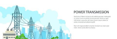 White Banner of Electric Power Transmission. High Voltage Power Lines Supplies Electricity to the City and Text, Vector Illustration vector illustration