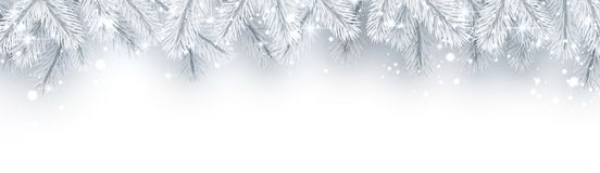 White banner with fir branches and snow for winter, Christmas an stock illustration
