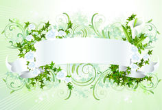 White banner with flowers Stock Images