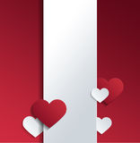 White Banner with Hearts and Copy Space. Against Red Background for Valentines Day Concept Design Vector Illustration