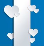 White Banner with Hearts and Love Text on Blue Royalty Free Stock Image