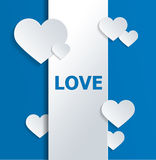 White Banner with Hearts and Love Text on Blue Stock Image