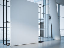 White banner in office interior. 3d rendering Royalty Free Stock Image