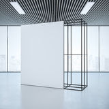 White banner in office interior. 3d rendering Royalty Free Stock Images