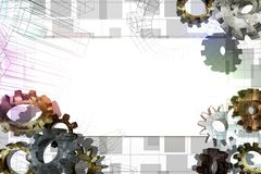 White banner with the old gears. Royalty Free Stock Photography