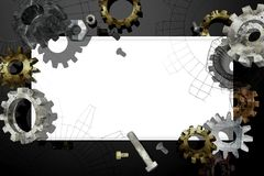 White banner with the old gears and bolts. Royalty Free Stock Image
