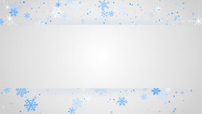 White banner and snowfall background Stock Images