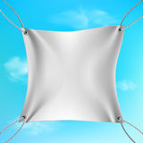 White banner stretched out on the ropes Royalty Free Stock Photos