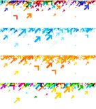 White banners with colorful arrows. White banners set with colorful arrows pattern. Vector paper illustration Stock Images