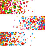 White banners with colorful confetti. White festive banners set with glossy colorful confetti. Vector paper illustration Stock Images
