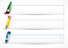 White banners with pen and pencil. On white background Stock Illustration