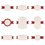 White Banners with red Ribbons Set. Vector Illustration Stock Photos